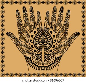 woman hands with the Indian decorative pattern on a beige background