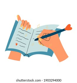 Woman hands with notepad, diary or journal writing thoughts or love letter, to do list, personal plans, goals. Isolated illustration of a pen and a notebook. Self love practice, mental health habits.
