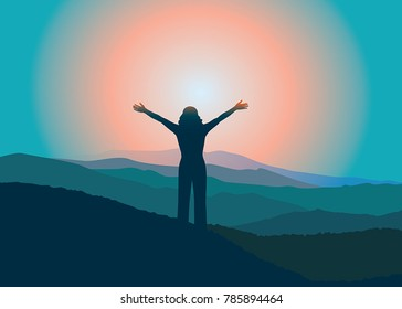 Woman with hands up on the top of mountain. Girl relaxing on vacation. Vector illustration. Blue Ridge Mountains, North Carolina, USA.