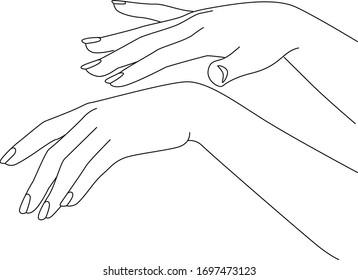Woman Hands Put on Cream, Rejuvenating, Elegant female hands, Realistic Gestures, Line Art, Vector Illustration