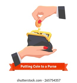 Woman hands putting coin to a black purse. Flat style vector illustration.