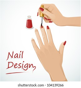 Woman hands putting a varnish on nails. Vector image of a woman hands applying a varnish on nails