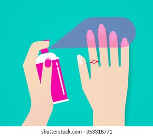 Woman hands with spray polish on nails vector illustration, concept of manicure varnish, lacquer, paint bubble, ring with heart on pointer finger, holding can, nail art fashionable design