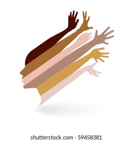 woman and hands vector