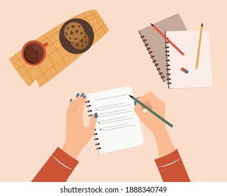 Woman hands writing text in notebook. Concept of writing diary, message to yourself, goals. Cozy desk with cup of tea and cookies. Flat cartoon colorful vector illustration.