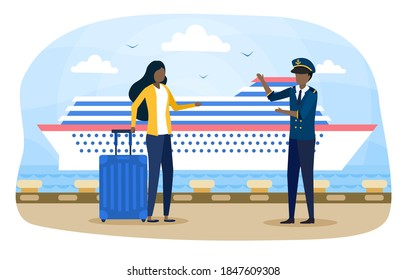 Woman and harbor employee at harbour pier. Ship transportation. Concept of cruise travelling. Cruise liner in sea or ocean harbour. Flat artoon vector illustration