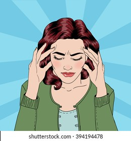 Woman has a Headache. Female Stress. Painful Feeling. Pop Art Banner. Vector illustration. Comic style