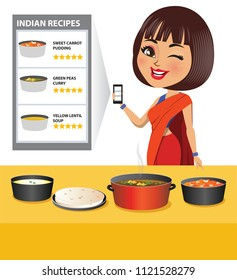 A woman has made wholesome Indian food looking at recipes from the internet on her mobile smartphone.