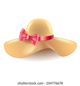 Woman hat with bow isolated on white photo-realistic vector illustration