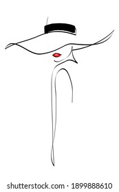 Woman in hat drawing with lines, fashion vector illustration, minimalist, ideal for t-shirt, print design, covers, web