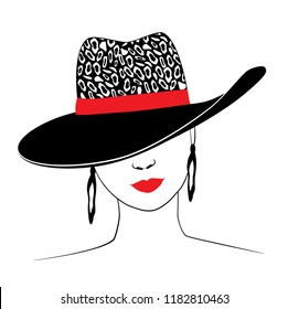Woman in hat with leopard print and red ribbon. Red lips charm. Ears jewellery. Fashion illustration. Vector.