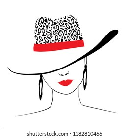 Woman in hat with leopard print and red ribbon. Red lips charm. Ears jewellery. Fashion illustration. Vector EPS 10.