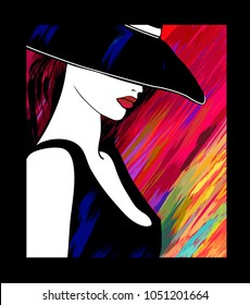 Woman with hat on colorful background - vector illustration