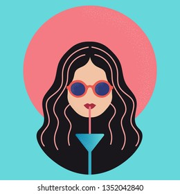 Woman with hat and sun glasses drinking cocktail vector icon illustration