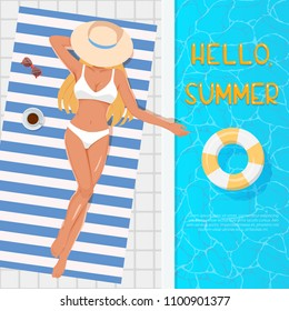 Woman in hat sunbathing on the beach towel near the swimming pool. Summer vector vacation concept. Top view of young blonde girl in white swimsuit sunbathing beside water pool