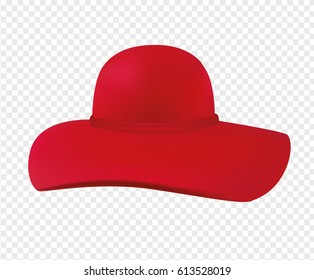 Woman hat with a wide brim. Red woman's hat isolated on transparent background. Vector illustration.