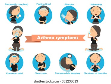 Woman having asthma using the asthma inhaler . Vector Illustration.