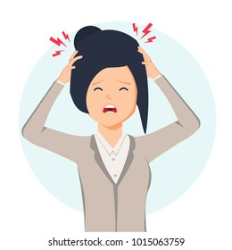 Woman having headache, migraine, pressing hand to her forehead, cartoon vector illustration isolated on white background. Half length portrait of girl, woman having headache, migraine and pain