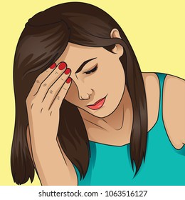 Woman having headache migraine. Stress and depression