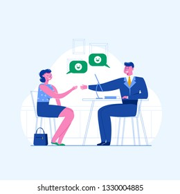 A woman is having a job interview. Jobseeker and employer sit at the table and talk. Good impression. Simple concept with the working situation, recruitment or hiring.
