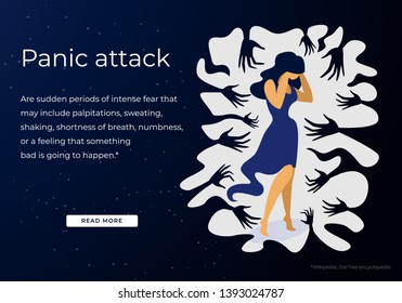 Woman Having Panic Attack Disorder in Public Place. Psychology, Solitude, Fear, Mental Health Problem. Depressed Sad Girl Surrounded by People Hands Cartoon Flat Vector Illustration, Horizontal Banner