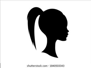 woman head beautiful girl femme drawn design vector ponytail hair portre