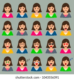 Woman Head with Different Emotions Expression Mood set, vector isolated Female smile color collection.
