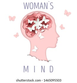 Woman head silhouette with flowers and butterflies, vector illustration in paper art style. Psychology, female mind, mental health concept.