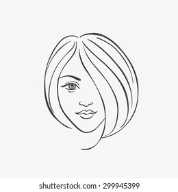 Woman head silhouette (vector eps 8)