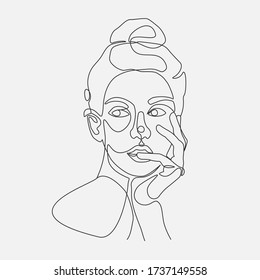 Woman head vector lineart illustration. One Line drawing.
