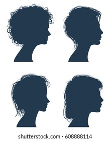 Woman head vector silhouettes, female face profiles, girl modern hairstyle. Profile girl with fashion hairstyle, illustration of young woman with beauty hairstyle