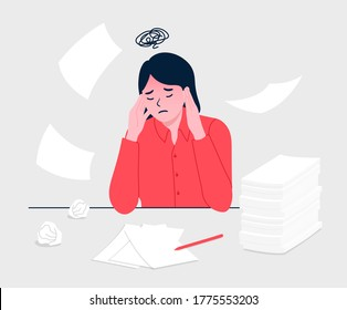 Woman with headache stress symptom and pile documents. Stressed worker. Business woman in panic. Woman sits at the Desk and holds her hands on head. Flat design vector illustration.