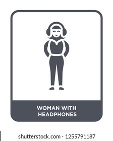 woman with headphones icon vector on white background, woman with headphones trendy filled icons from Ladies collection, woman with headphones simple element illustration