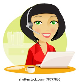Woman with headset and computer in the office