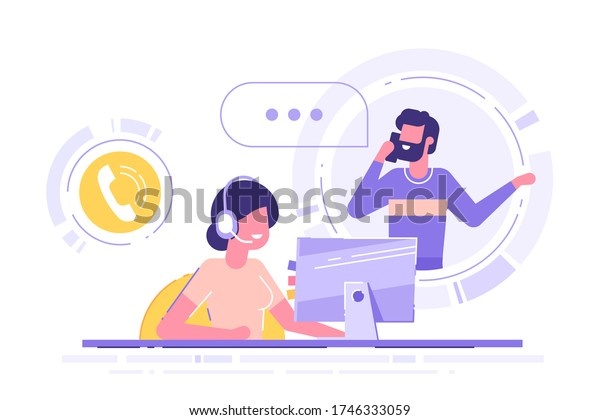 Woman with headset is sitting at her computer and  talking with client. Clients assistance, call center, hotline operator, consultant manager, technical support and customer care. Vector illustration.