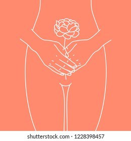 Woman health illustration. Intimate hygiene. Hands with the flower. Vector illustration