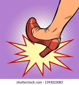 woman heel kick. Comic cartoon pop art retro vector illustration drawing