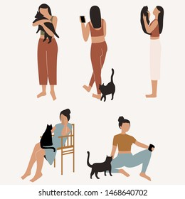 Woman with her cat. Woman dressed it trendy clothes spending time with a pet - holding a cat, sitting near it and with cat in her laps. Flat vector illustration