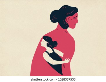Woman and her small copy hiding under her arm and looking out. Concept of inner child, childlike aspect of human personality, subpersonality. Colorful vector illustration in contemporary style.