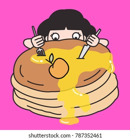 Woman Hiding Behind The Giant Pancake Sneaking And Eating It. Appetite And Gluttony Concept Card Character illustration