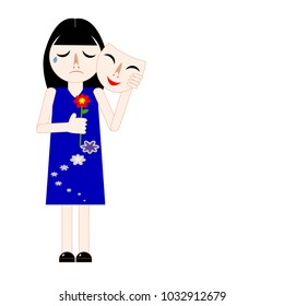 Woman hiding sorrow face under smiling mask. Lady take off mask and express real feeling. Concepts of broken heart, social expression, Bipolar or Major Depressive Disorder (MDD). Vector illustration.