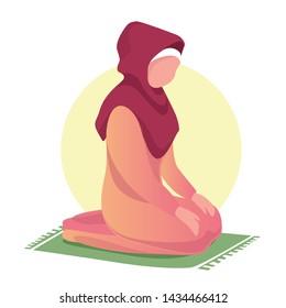 A woman in a hijab prays. Islam, Muslim, hijab, prayer. Vector illustration