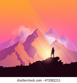 A woman hiking through a scenic mountain pathway stops to admire the view. Vector illustration