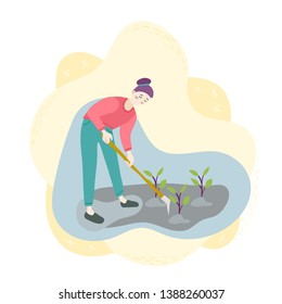 A woman with a hoe spuds seedlings on the field. Planting, harvesting, gardening. Season agriculture harvest work scene. Isolated flat trendy cartoon funny modern style Illustration for web and print