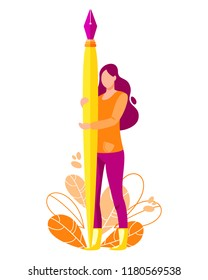 Woman hold big fountain pen. Writer vector illustration. Flat cartoon character concept design for bloggers, journalists, interviewer, copywriters