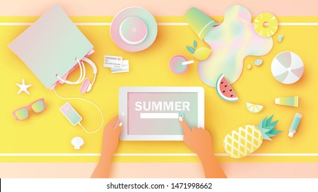 Woman hold tablet in hands is searching for summer article with summer accessories and fruit juice placed on the desk. paper cut and craft style. vector, illustration.