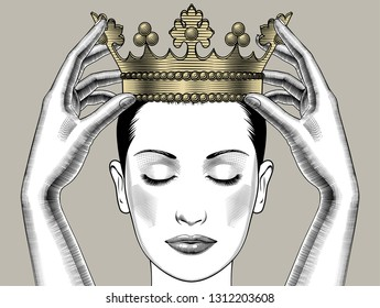 Woman holding above a head the golden crown. Leadership, success , queen. Female hands holding a crown. Vintage engraving stylized drawing. Vector illustration