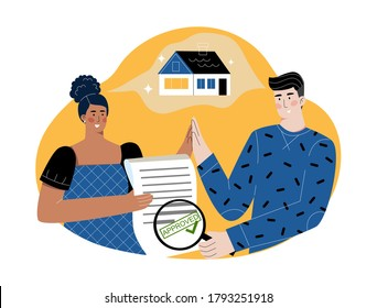 Woman holding an approved mortgage application. Man looking with magnifying class at approved loan form. Happy couple celebrating house approval, dreaming about future home together, giving high-five