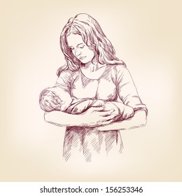 woman holding a baby hand drawn vector llustration