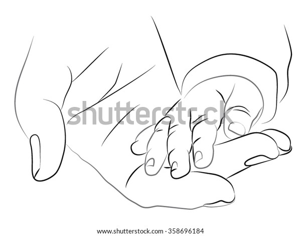 de48ba5d5 A woman holding a baby hand. Pencil black and white drawing. mother hand  holding